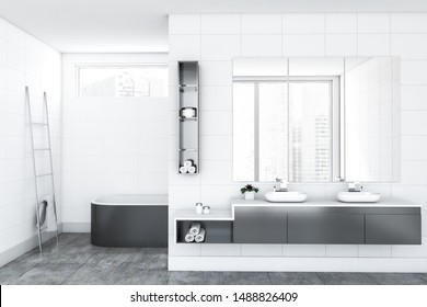 Interior of luxury bathroom with white tile walls, comfortable gray bathtub, double sink standing on gray countertop with three large mirrors above it and metal ladder with towel. 3d rendering