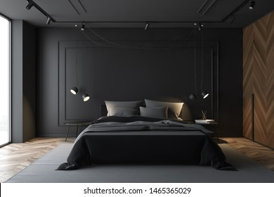 Interior of luxury master bedroom with gray and wooden walls, wooden floor, double bed standing on gray carpet and two bedside tables. 3d rendering