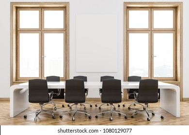 Interior of a luxury meeting room with white walls, wooden window frames, a long table with chairs. 3d rendering mock up