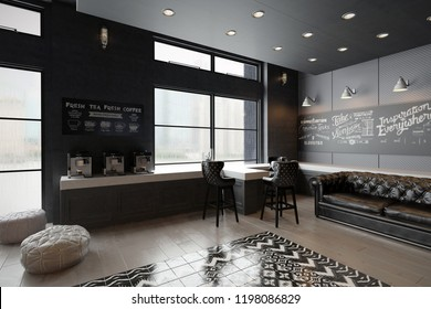 Interior of a luxury self service coffee shop - 3 d render