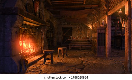 Interior of a medieval tavern lit by candle light and a fire burning in the fireplace. 3D illustration.