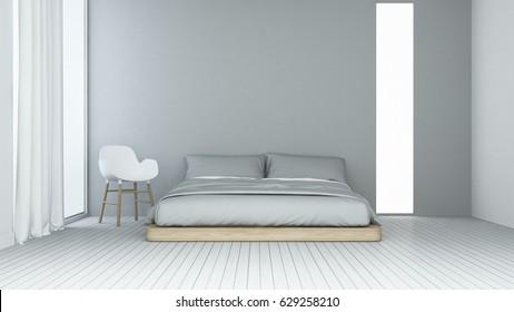 Interior Minimal Bedroom Space In Hotel   3D Rendering