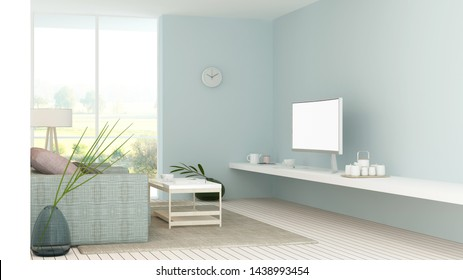 The interior minimal relax space 3d rendering and nature view background