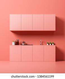 Interior of minimalistic kitchen with pink walls and floor, pink countertops with built in sink and stove and cabinets above them. 3d rendering