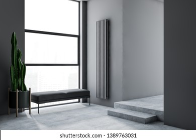 Interior of minimalistic living room with gray walls, concrete floor, gray bench standing near large window with cityscape and plant in pot. 3d rendering