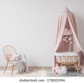 Interior mock up frame in newborn bedroom, three white frames on bright background with rattan crib and chair. Scandinavian baby room design, 3D rendering, 3D illustration