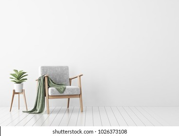 Interior mock up with gray velvet armchair, green plaid and plant in pot in living room with white wall. 3D rendering.