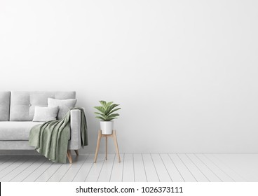 Interior mock up with gray velvet sofa, pillows, green plaid and plant in pot in living room with white wall. 3D rendering.