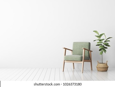 Interior mock up with green fabric armchair and fiddle leaf tree in wicker basket in living room with white wall. 3D rendering.