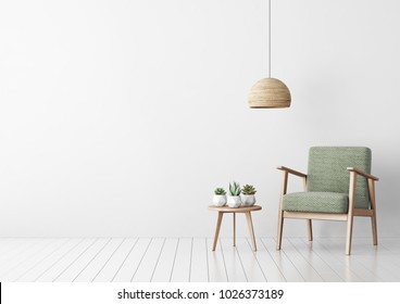Interior mock up with green fabric armchair, coffee table, succulents and hanging lamp in living room with white wall. 3D rendering.