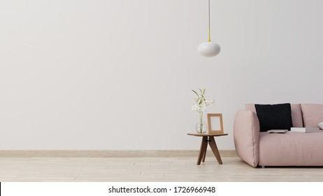 Interior mock up living room with plants and sofa in wooden table,3d rendering