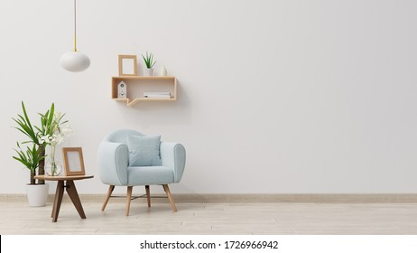 Interior mock up living room with wooden table and armchair, 3d rendering