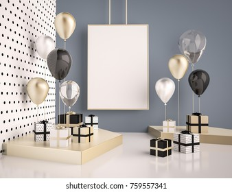 Interior mock up scene with black and gold gift boxes and balloons. Realistic glossy 3d objects for birthday party or promo posters or banners. Empty space for poster size design element.