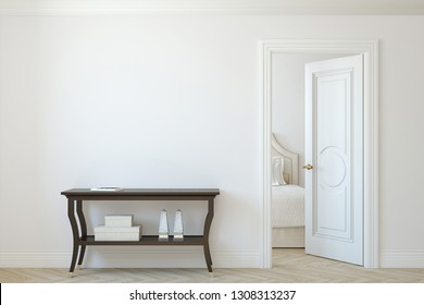 Interior mockup. Console table near empty white wall. 3d render.