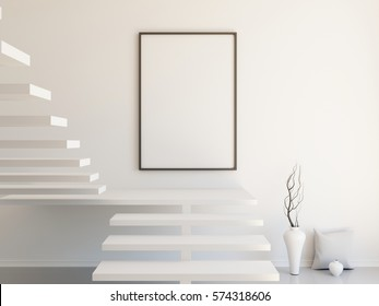 Interior mockup illustration, 3d render of scandinavian style room with staircase, white wall and vertical blank frame
