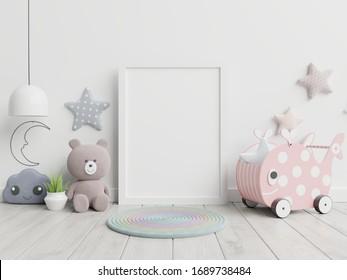 Interior mockup, kids room, wall frame mockup.3d rendering