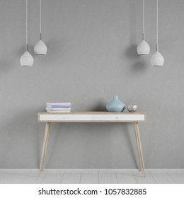 Interior mockup scene with a console and lamps, 3D render