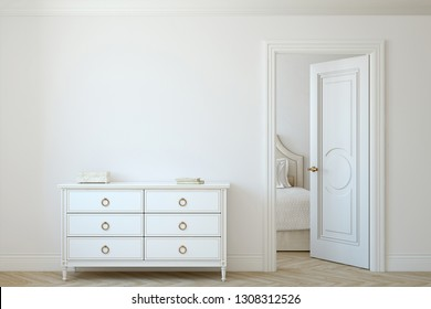 Interior mockup. White dresser near empty white wall. 3d rendering.