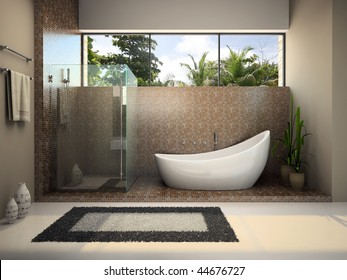 Interior of the modern bathroom 3D rendering