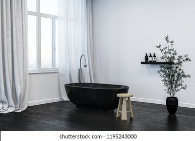 interior of modern bathroom with black bathtub. 3d Rendering