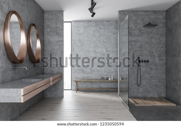 Interior Modern Bathroom Concrete Walls Wooden Stock Illustration 1235050594