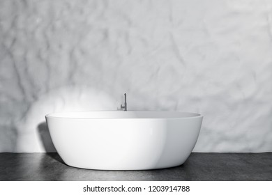 Interior of modern bathroom with crude white walls, concrete floor and white bathtub. 3d rendering mock up