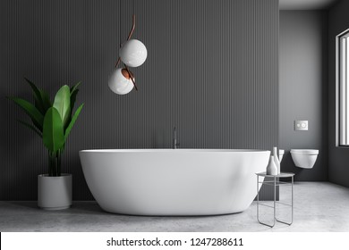 Interior of modern bathroom with gray walls, stone floor, white bathtub standing next to chair with shampoo and potted plant. 3d rendering