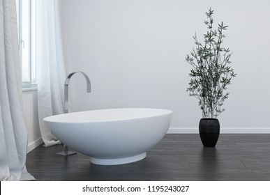 interior of modern bathroom with indoor plant. 3d Rendering