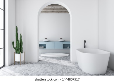 Interior of modern bathroom with white walls, tiled floor, white bathtub and double sink on blue countertop in background. 3d rendering