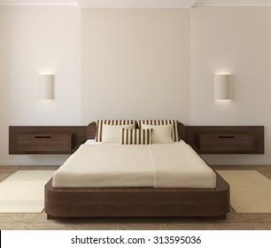 Interior of modern bedroom. 3d render.