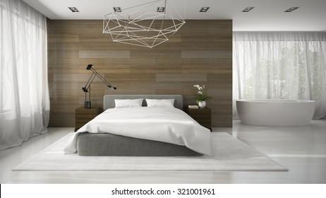 Interior of modern bedroom with bathtub 3D rendering