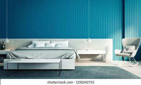 Interior of modern bedroom and blue wall / 3D render interior