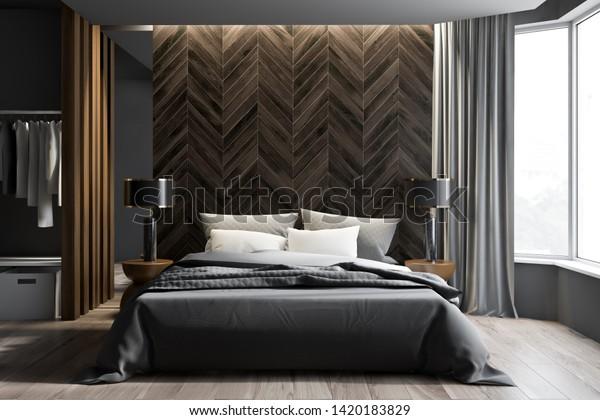 Interior Modern Bedroom Gray Dark Wooden Stock Illustration 1420183829