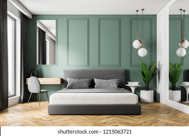 Interior of modern bedroom with green walls, wooden floor, gray master bed and make up table in the corner. 3d rendering
