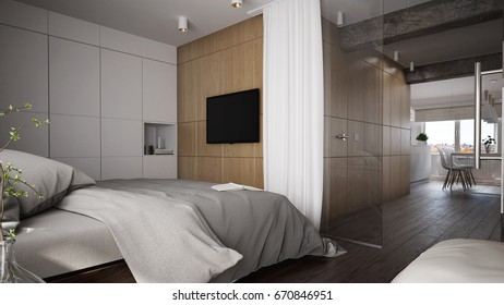 Interior of a modern bedroom with a view - 3 D render using 3 d s Max