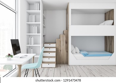 Interior of modern bedroom with white walls, wooden floor, white and wooden bunk bed, a bookcase and white computer table with blue chair. 3d rendering