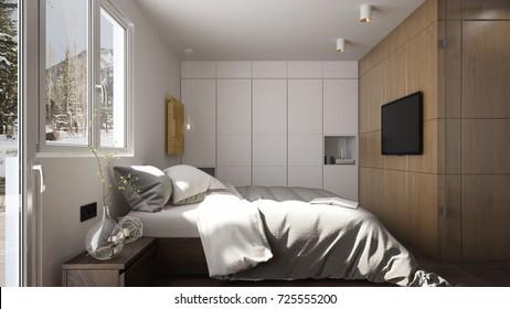 Interior of a modern bedroom in winter - 3 d render