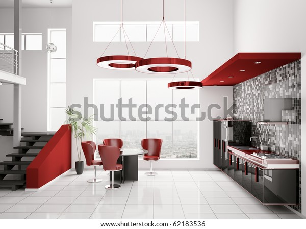 Interior Modern Black White Red Kitchen Stock Illustration ...