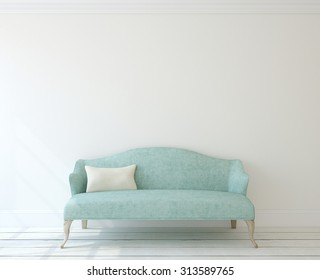 Interior with modern blue couch near white wall. 3d render.