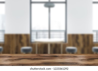 Interior of modern cafe with white and wooden walls, gray floor, big windows with cityscape and round wooden tables with small gray chairs. 3d rendering blurred