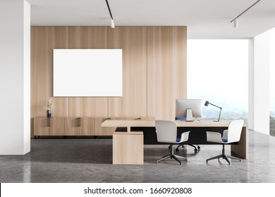 Interior of modern CEO office with white and wooden walls, concrete floor, computer table with chairs for visitors and horizontal mock up poster. Concept of management. 3d rendering