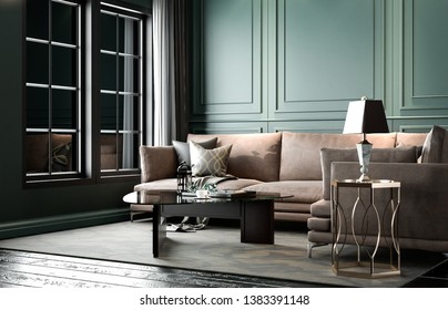 Interior modern classic living, retro classical style, with loose brown furniture, dark green wall, 3D rendering, 3D illustration