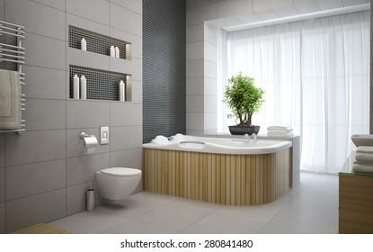 Interior of the modern design  bedroom 3D rendering