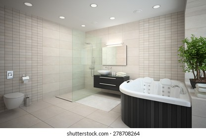 Interior of the modern design  bedroom with jacuzzi 3D rendering