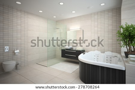 Interior modern design bedroom jacuzzi d stock illustration