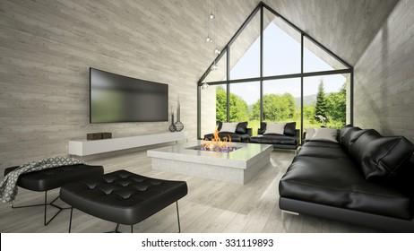 Interior of modern design living room 3D rendering