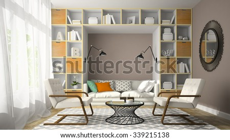 Interior of modern design room with two white armchair 3D rendering
