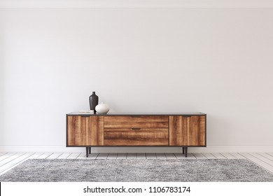 Interior with modern dresser. 3d render.
