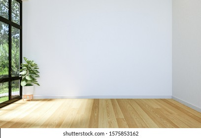 Interior of Modern Empty Hall Open Space with Large Window and Hardwood Floor, 3D Rendering