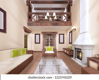 The interior is modern English style with a fireplace. High ceilings with wooden beams. 3D rendering